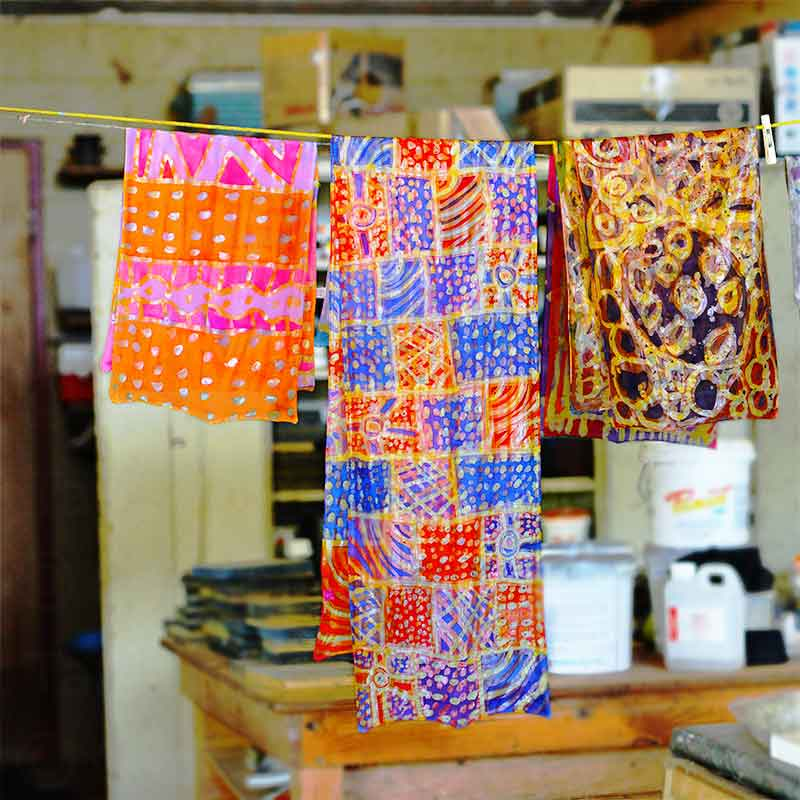 Printed material drying in Tiwi Islands art studio